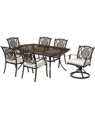 Hampton Bay Belcourt 7 Piece Dining Set With Custom Cushions From Homedepot