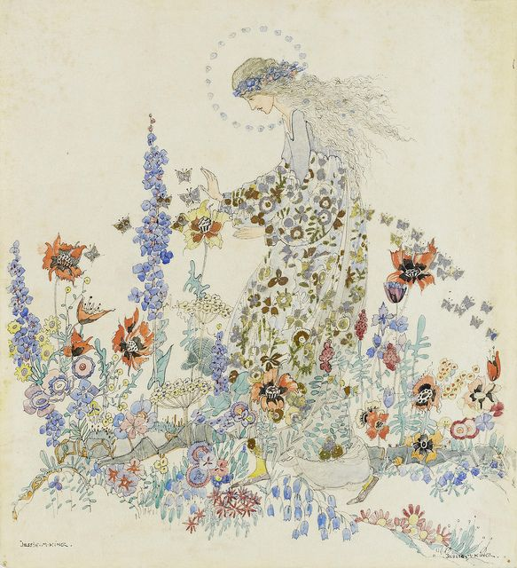 Jessie M. King (British, 1875-1949). Beauty in the beast's garden.