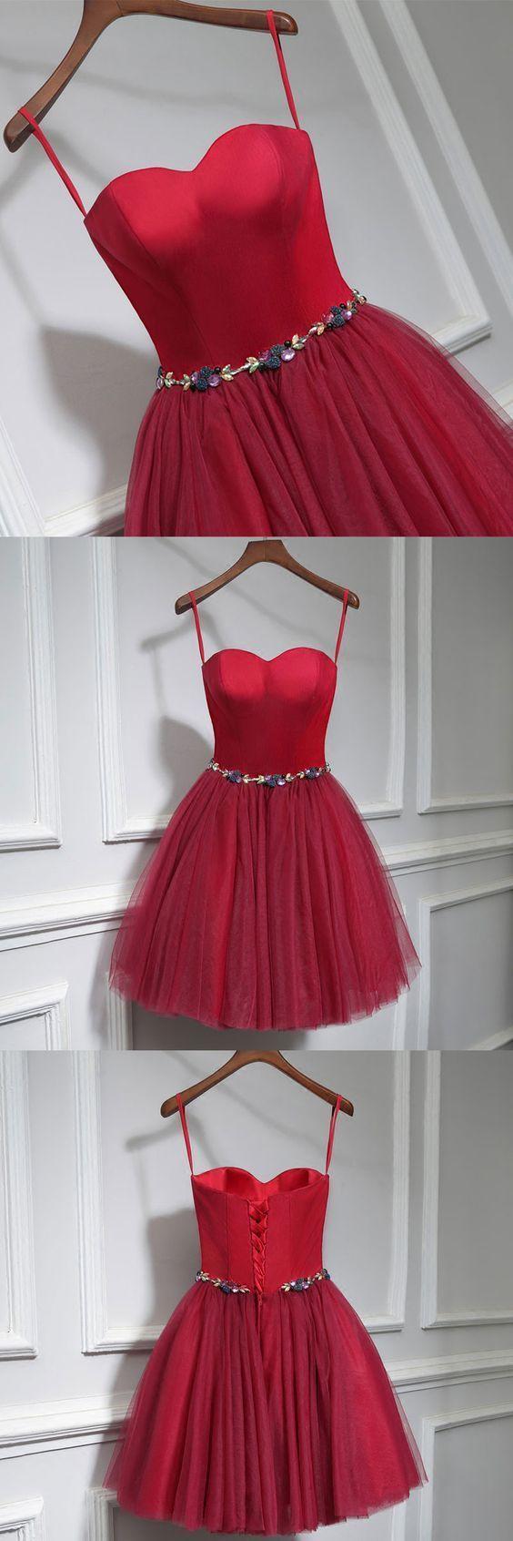 Cute burgundy neck short prom dress homecoming dress beautiful