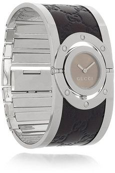 Gucci|Twirl Guccissima stainless steel and leather watch|NET-A-PORTER.COM - StyleSays
