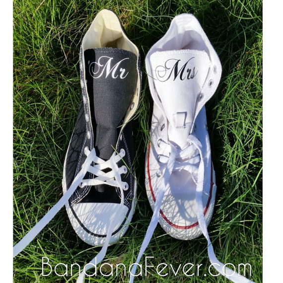 040840aaf7c7 Set 2 Custom Wedding Couple Converse Chuck Taylor Hi Top - Personalized Mrs.  and Mr Wedding Shoes - Bridal Shoes - Mr and ...