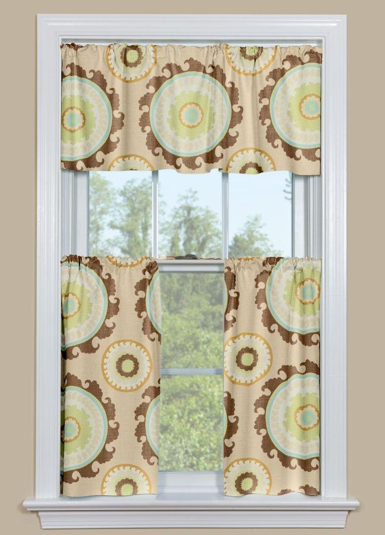 Kitchen Window Panel With Large Medallion Design in Sage ...