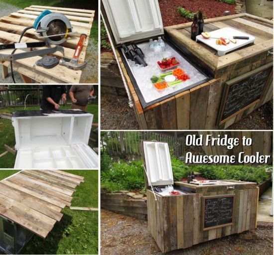 Do It Yourself Outdoor Bar: Old Fridge To Vintage Cooler Upcycle Using Pallets