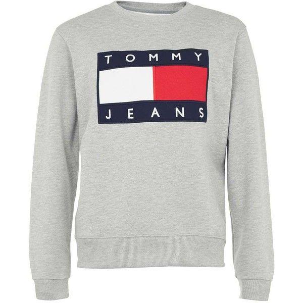 5c2da198666fb2 TOPMAN Tommy Jeans Grey Marl Logo Sweatshirt (14935 RSD) ❤ liked on Polyvore  featuring