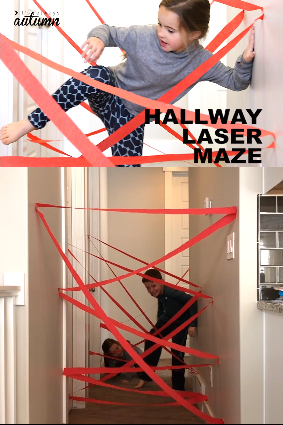 Use a roll of crepe paper to make a cool laser maze in your hallway! Fun indoor play idea for kids. #kids #indooractivities
