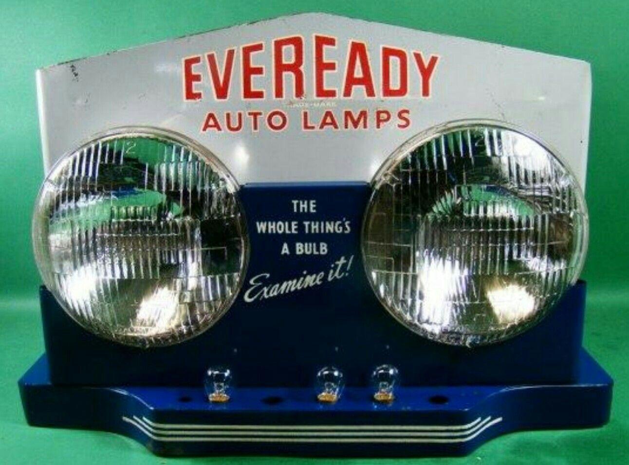 Original Eveready Auto Bulbs Advertising Display Vintage Oil Cans Vintage Sales Online Vintage