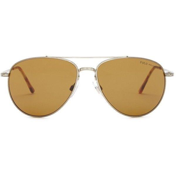 Polo Ralph Lauren Women's Polarized Pilot Sunglasses (€38) ❤ liked on Polyvore featuring accessories, eyewear, sunglasses, silver, tortoiseshell sunglasses, polo ralph lauren eyewear, tortoiseshell glasses, tortoise sunglasses and uv protection sunglasses