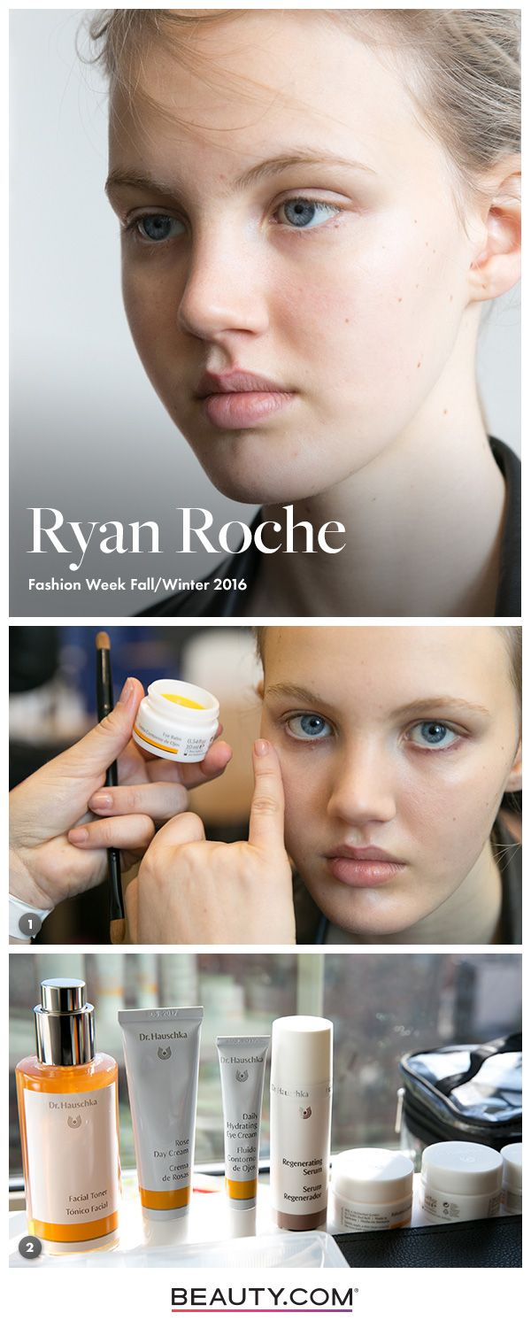 Get the skin from Ryan Roche FW16 with these tools & steps from Dr. Hauschka. Step 1) Cleanse the skin with Smoothing Cleansing Milk, followed by Facial Tone. Step 2) Apply Rose Day Cream all over the face and gently dab Daily Hydrating Eye Cream on the outer corner of the eyes Get the rest of the look on Beauty.com's Front Row.