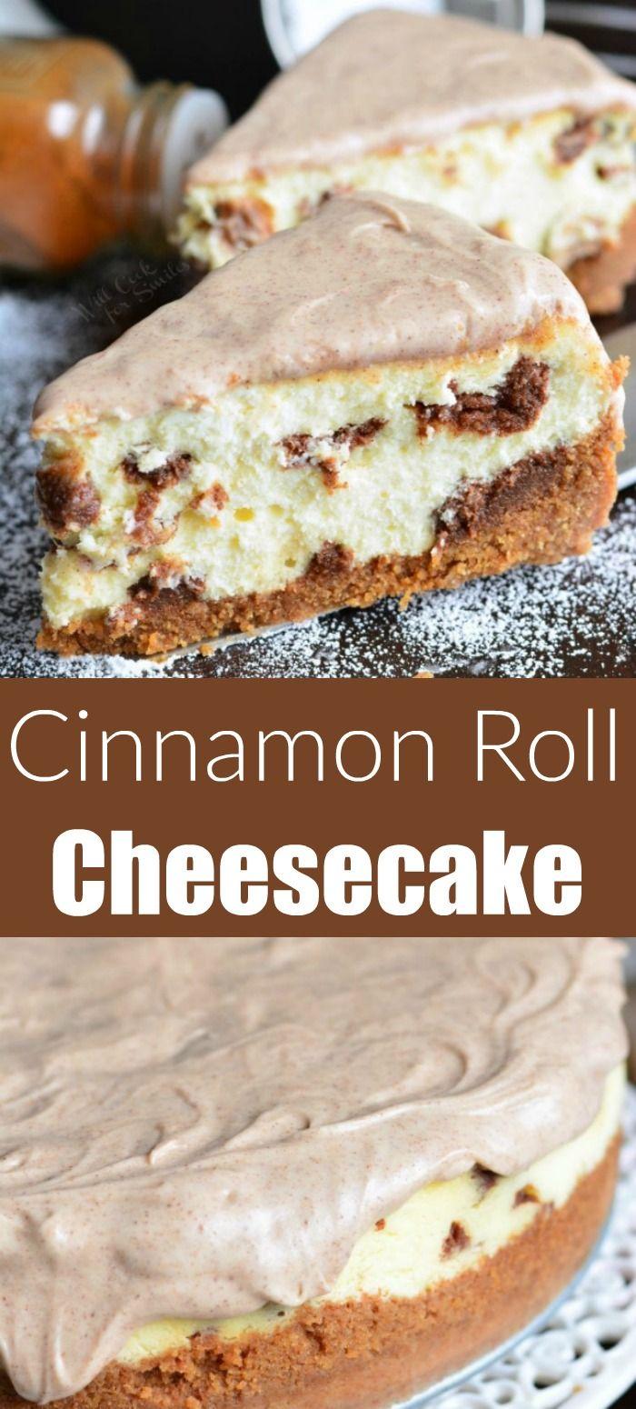 Cinnamon Roll Cheesecake. Creamy, smooth, silky cheesecake made to taste just like cinnamon buns. This cheesecake has a cinnamon flavored crust, smooth cheesecake filling, bit of cinnamon filling throughout, and cinnamon icing on top. #cheesecake #dessert #cinnamon #cinnamonroll #cinnabon #cheesecakerecipes