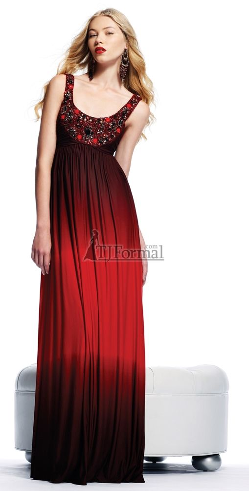 Red Ombre Prom Dress Jovani 15314 Scoop Neckline Gown Homecoming
