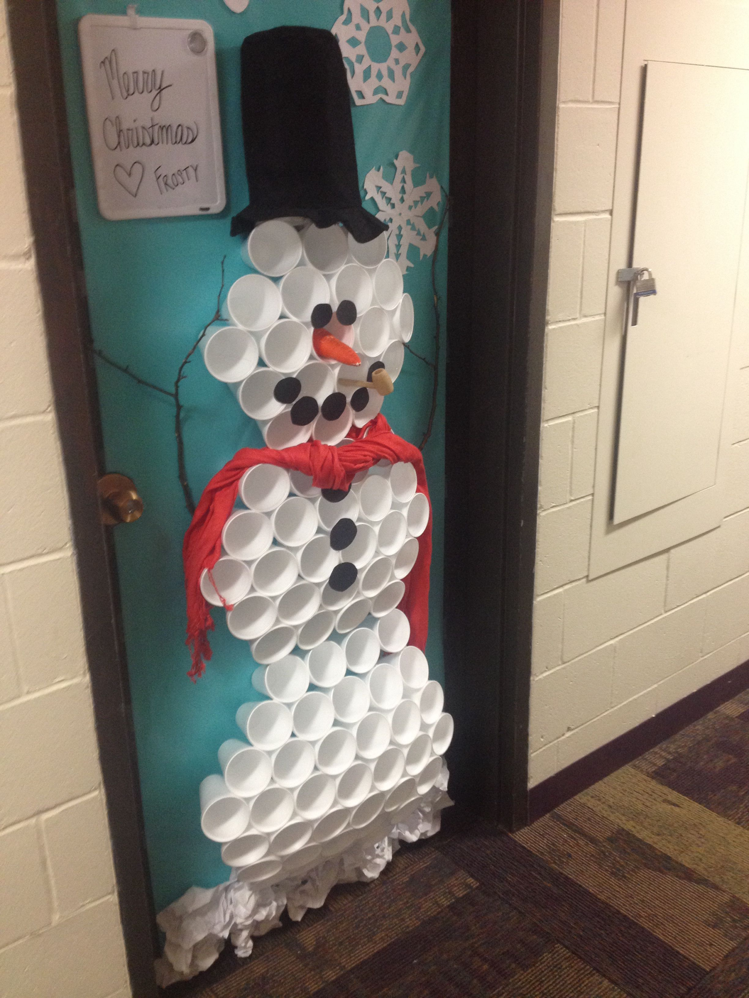 Christmas/snowman dorm door decoration!!   Feeling ...