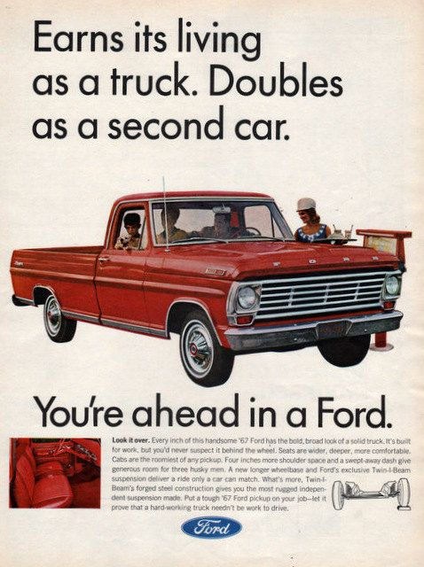 1967 Ford 100 pickup Truck print ad Doubles as a by Vividiom, $9.00