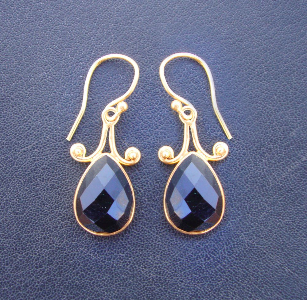 Black Onyx 18k Gold Plated 925 Sterling Silver Bezel Handmade Dangle Earrings