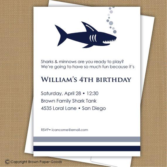 Shark Invitation Party Printable