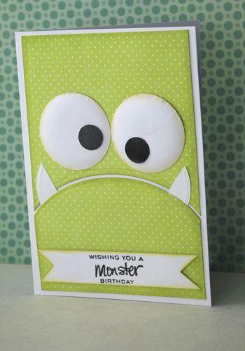 2 handmade monster birthday card cards pinterest circle punch handmade monster birthday card bookmarktalkfo Images