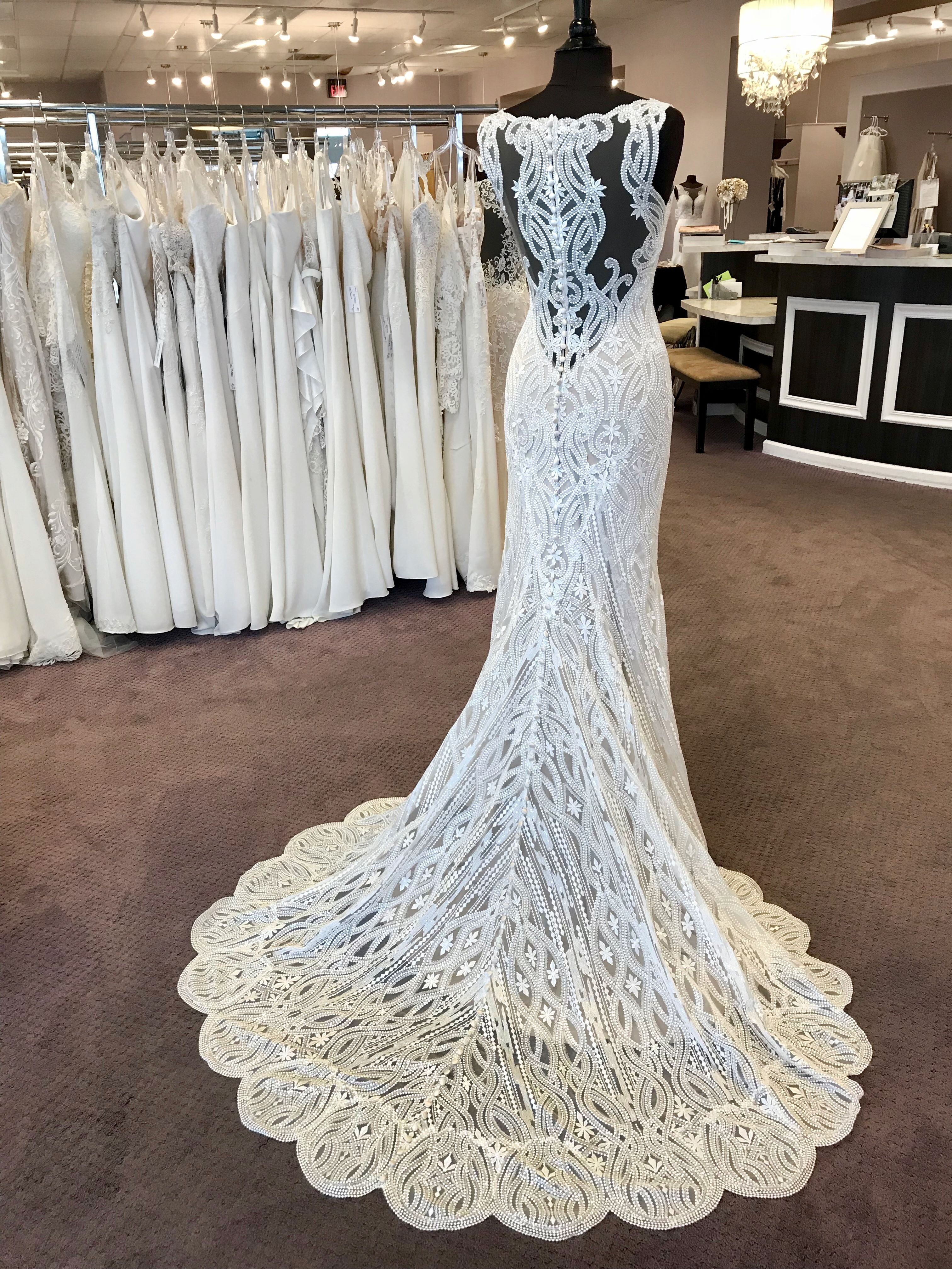 This Dress Is Everything And More For Traintuesday This New Arrival Has A Scalloped Train And Illu Wedding Dress Prices Wedding Dresses Designer Bridal Gowns