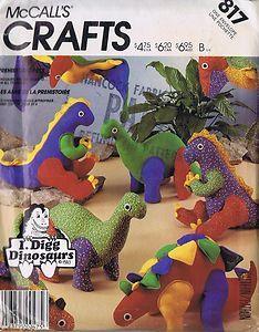 Stuffed Toys Sewing Pattern 817 Mccalls Dinosaurs T Rex