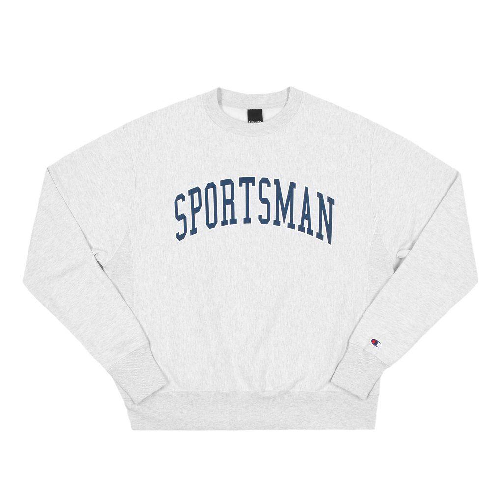 Only Ny Grey Crewneck Champion Sweatshirt With Navy Sportsman Graphic On Front Sweatshirts Champion Sweatshirt Grey Crewneck [ 1024 x 1024 Pixel ]