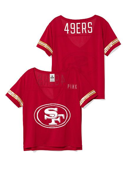 buy popular 07f11 949be San Francisco 49ers Cropped V-Neck Athletic Jersey PINK/Not ...