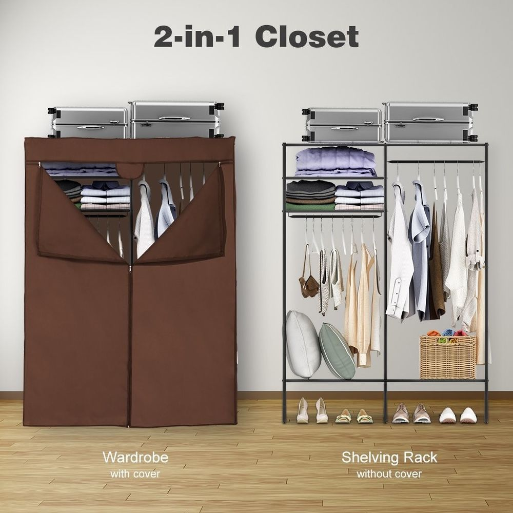 Heavy Duty Zip Up Metal Closet Shoe Organizer With Cover Storage