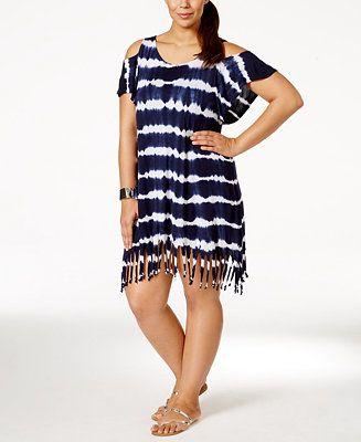dba3bf7f02f Raviya Plus Size Tie-Dye Fringe Cover-Up Tunic - Swimwear - Plus Sizes -  Macy s