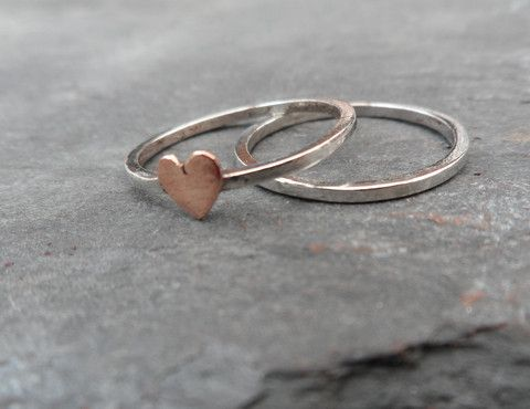 Hand Made Sterling Silver Skinny ring set, with tiny copper heart – Hearts of Brass £12.50.                      http://www.heartsofbrass.co.uk