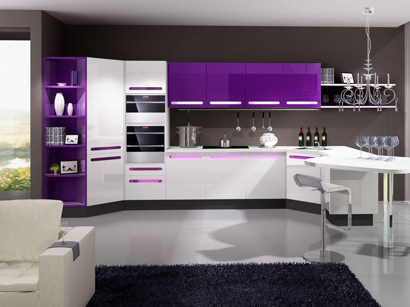 White And Purple Kitchen   Google Search