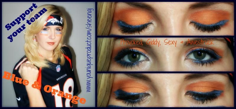 Denver Broncos Inspired Makeup :)  Younique by Fidencia Yesenia Salazar - Uplift. Empower. Motivate.