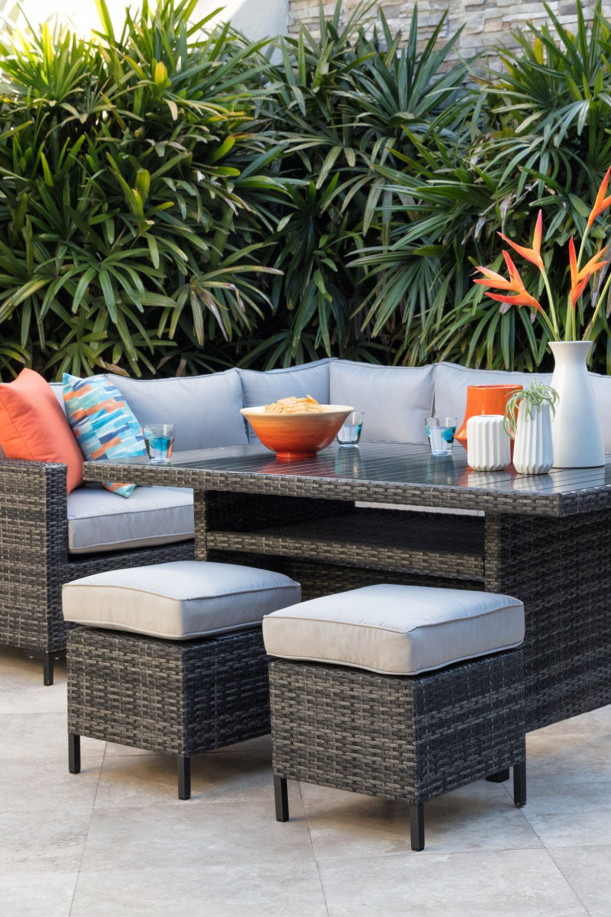 Outdoor Domingo Banquette Lounge With 23 Ottomans  Deck furniture