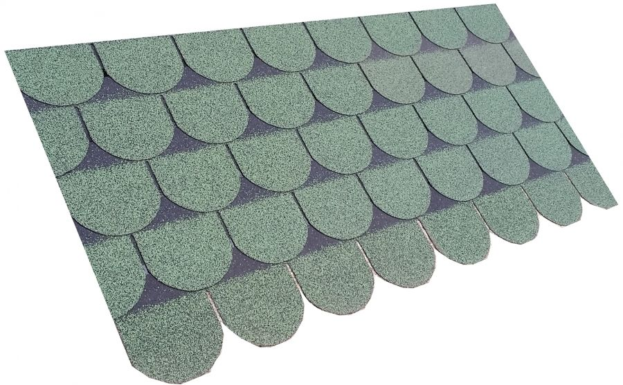 Roofing Superstore Scalloped Roofing Felt Shingles in Green 3m2 – Scalloped Roof Shingles
