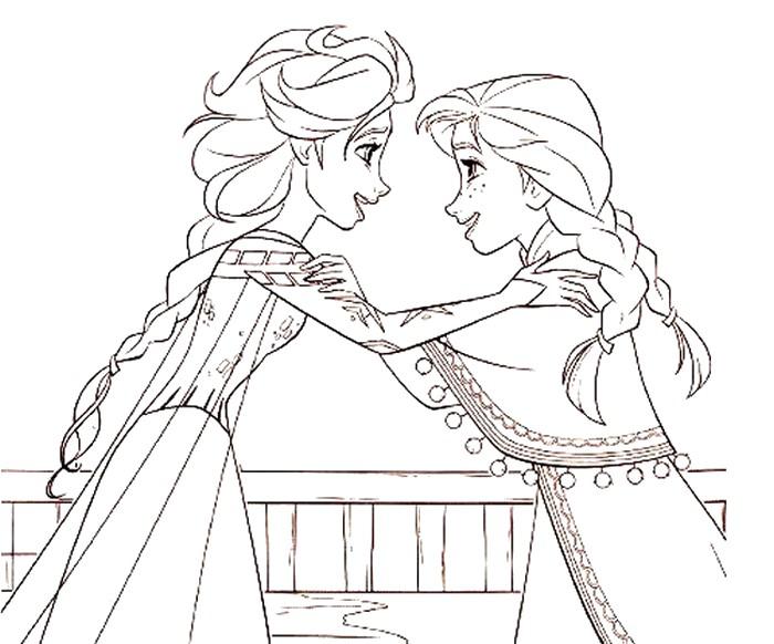 Dibujo Para Colorear Frozen 2 Elsa Y Anna 11 Paginas Para Colorear Dibujos Para Colorear Anna Y Elsa