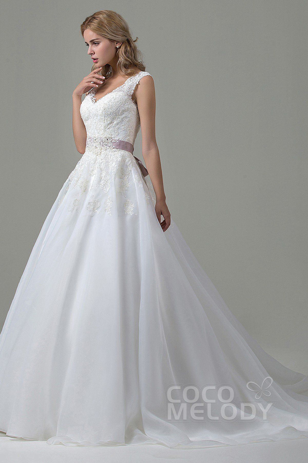 Classic aline vneck natural court train lace and organza ivory
