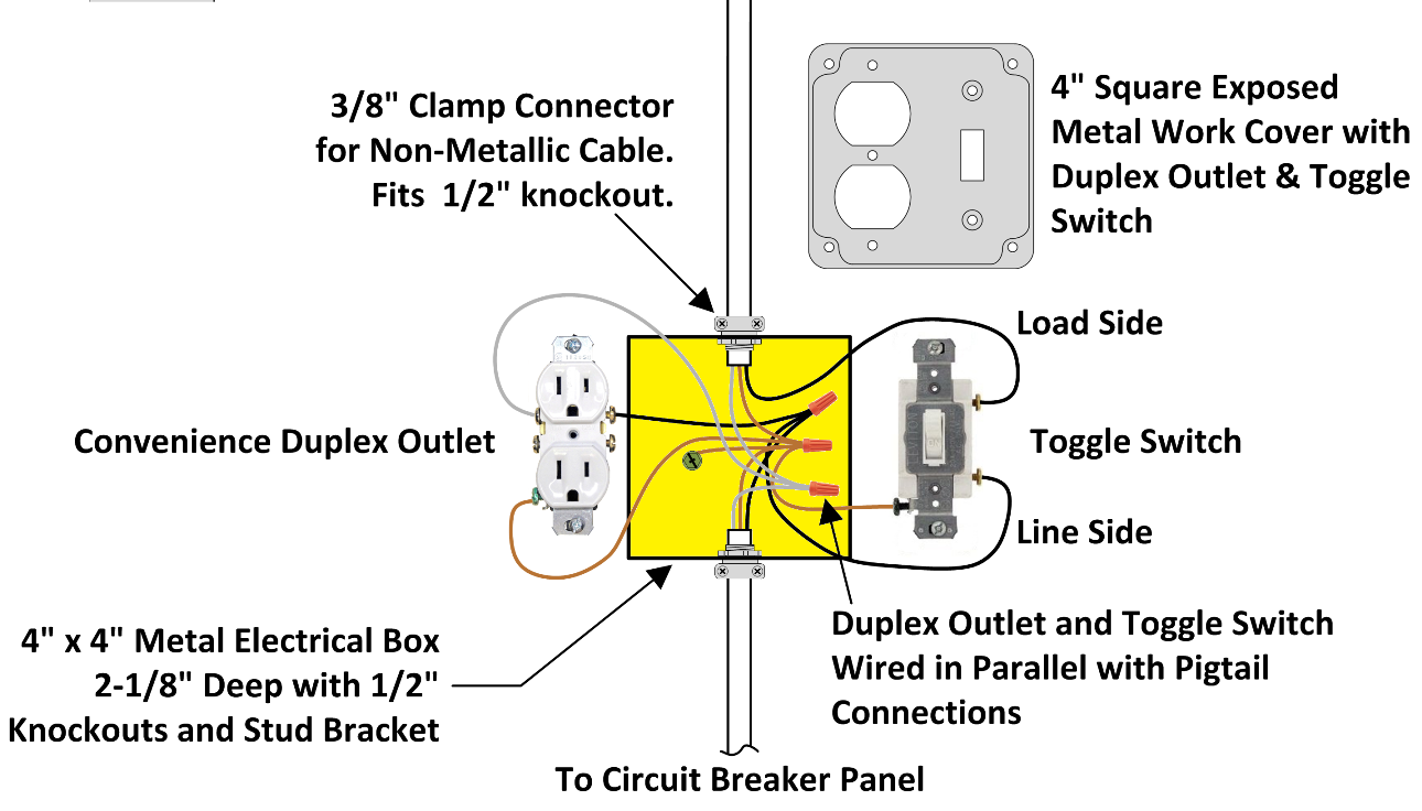 How To Wire An Attic Electrical Outlet And Light Junction Box Wiring Outlet Wiring Electrical Switch Wiring Light Switch Wiring