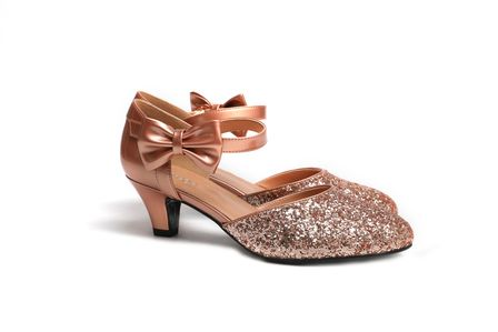 f65a12914a8 SUGARPOP ChaCha Rose Gold Glitter Kitten Heels - Vintage inspired ...