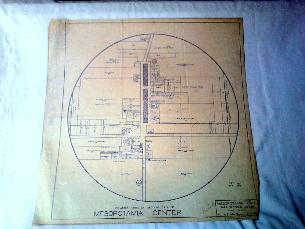 Vintage blueprint circle 1949 mesopotamia township center ohio vintage blueprint circle 1949 mesopotamia township center ohio malvernweather Images