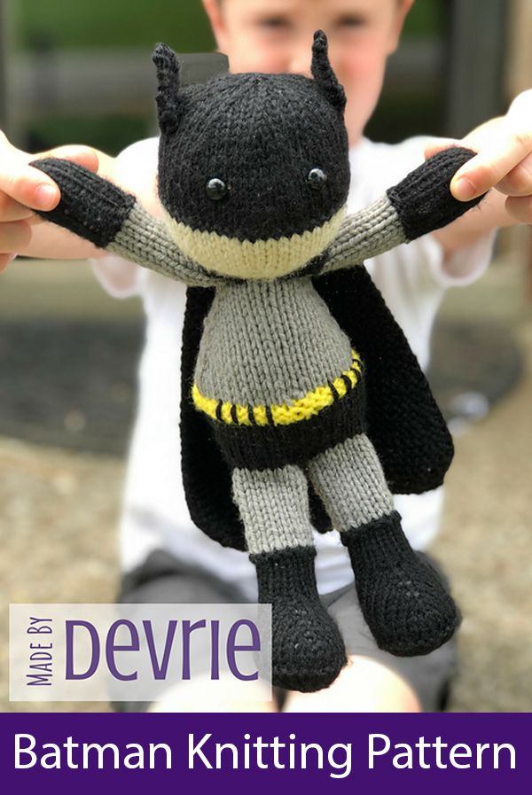 Knitting Patterns for Batman Toy