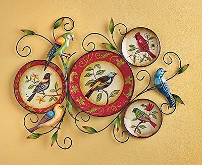 Birds Wall Art Scrolling Iron Metal Vines Colorful Vintage Home ...