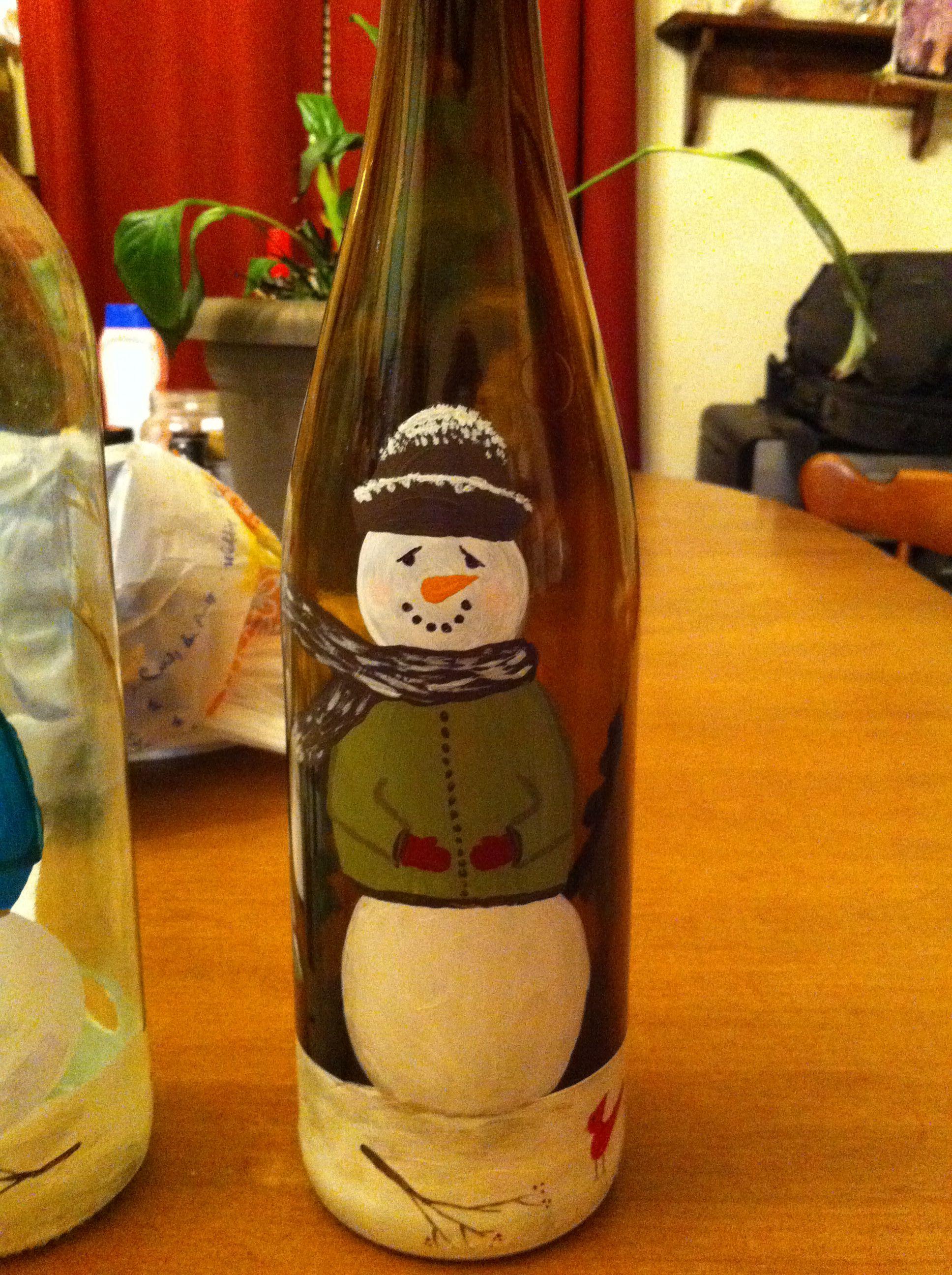 Snowman Painted Wine Bottle