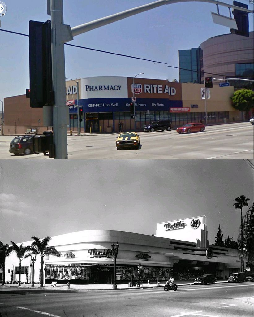 Sw Corner Of Sunset Boulevard And Fairfax Avenue 1940 And Now Los Angeles History Hollywood Building Vintage Los Angeles