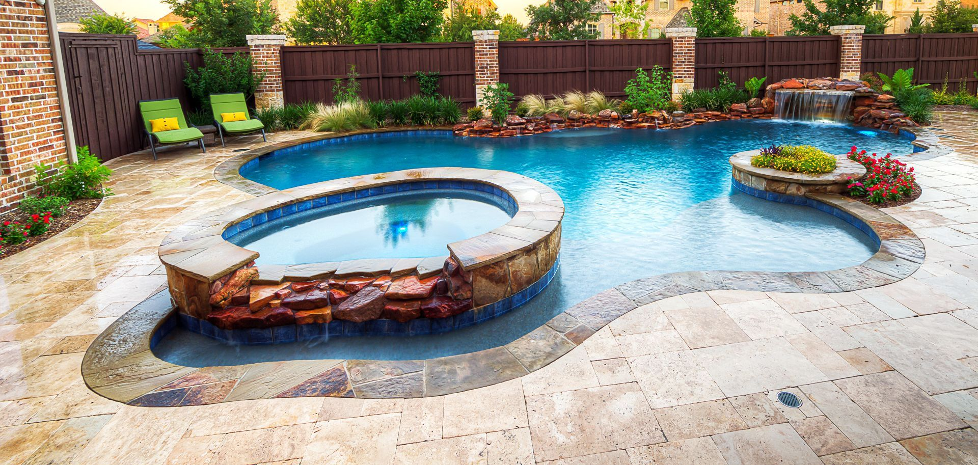 Floating Hot Tub Rock Spillway Grotto Table Rock Water Fall Swimming Pool House Pool Water Features Pool Houses