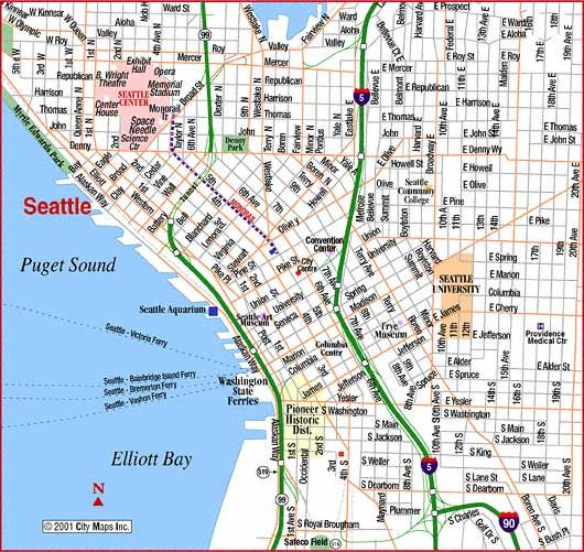 Map of Downtown Seattle  Road Map of Seattle Downtown Seattle