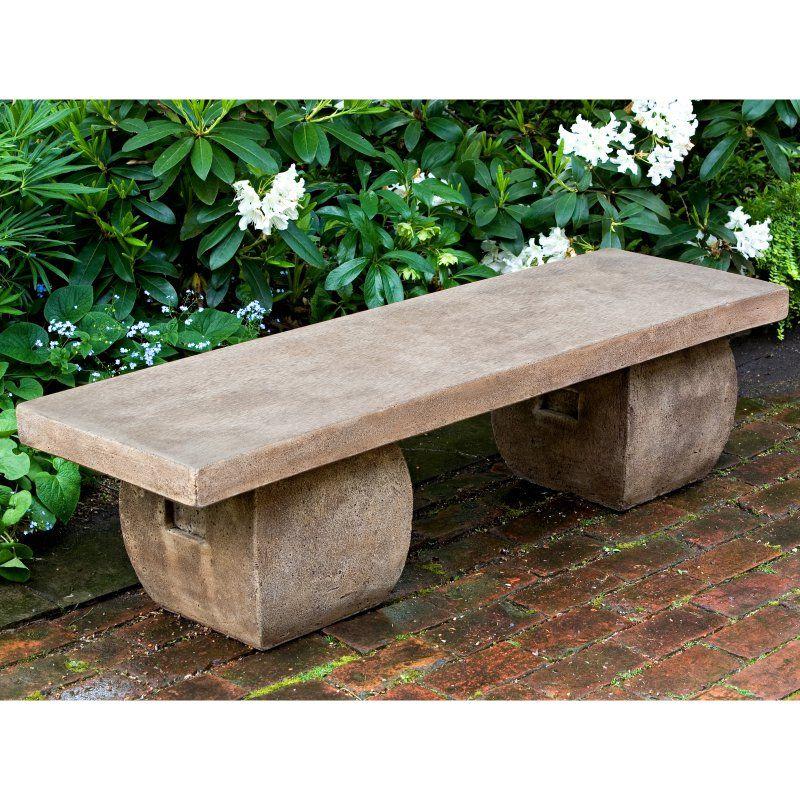 Outdoor Campania International Ryokan Cast Stone Backless Garden Bench Aged Limestone Be 100 Al