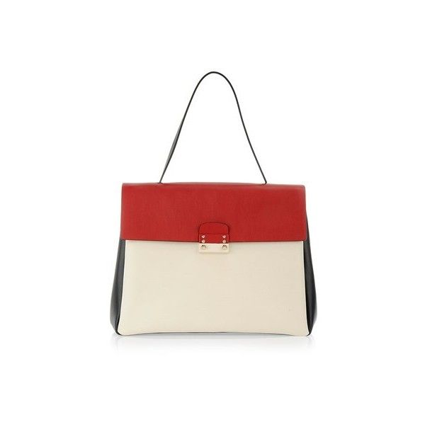 VALENTINO Color Block Leather Tote Bag (99.755 RUB) ❤ liked on Polyvore featuring bags, handbags, tote bags, multi, white purse, genuine leather handbags, leather tote bags, leather tote и handbags totes