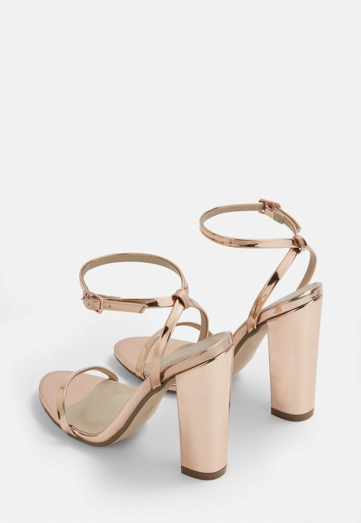 c03dc1f7cf1 Rose Gold Block Heel Sandals in 2019 | Chaussures mariage | Gold ...