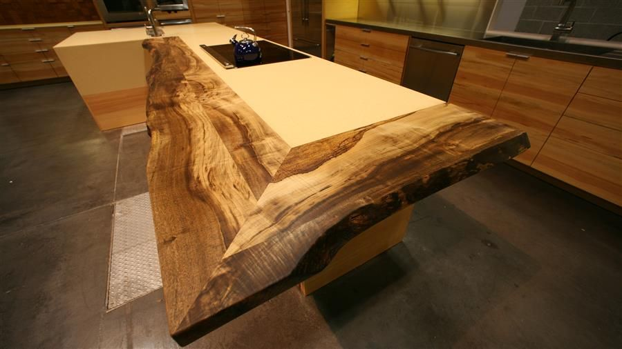 Counter Top Design - Live-edge reclaimed wood slab transaction area with  quartz inset. - Counter Top Design - Live-edge Reclaimed Wood Slab Transaction