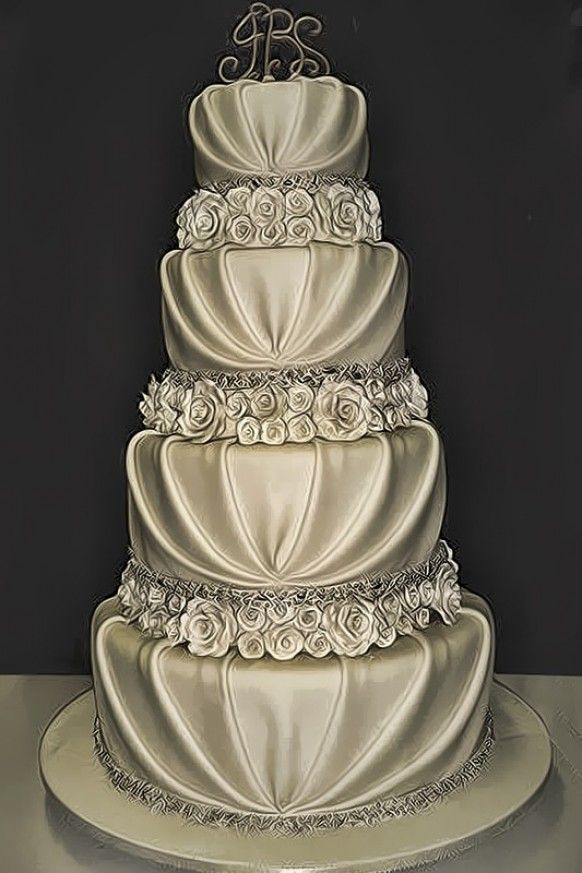 Silver Romantic Wedding Cake So Beautiful