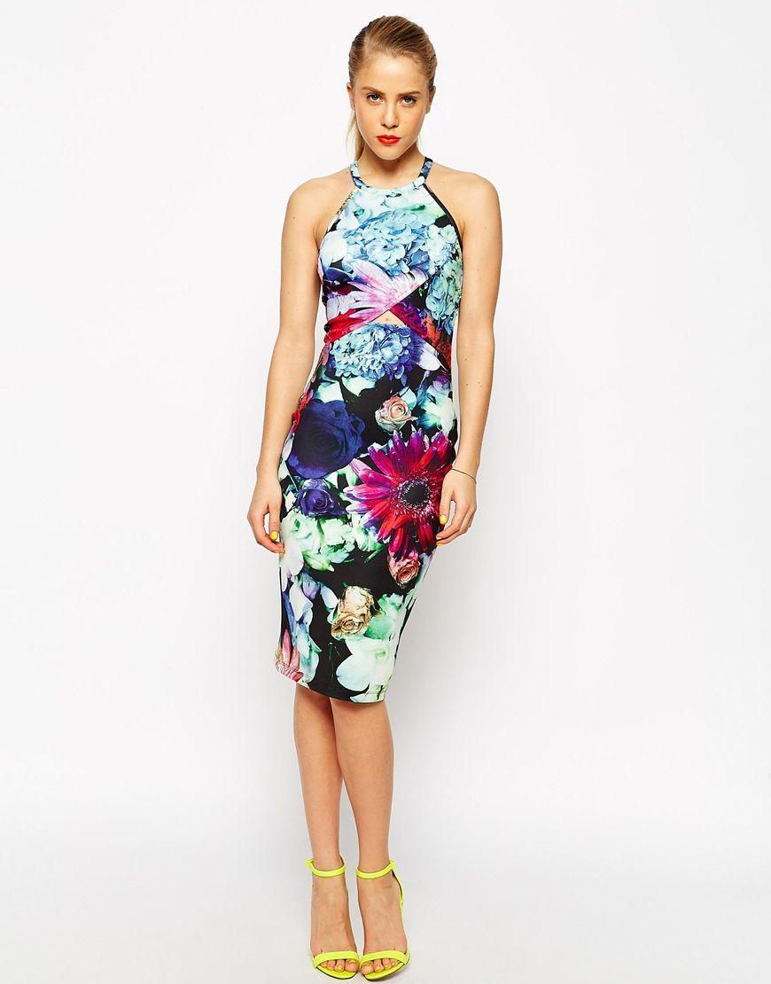 ASOS | ASOS Digital Floral Cut Out Scuba Midi Bodycon Dress at ...