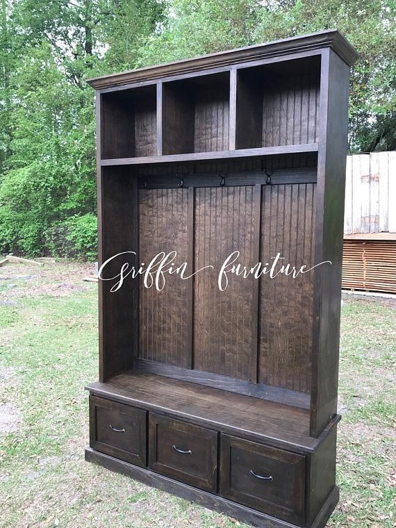 Mudroom bench with shoe storage, coat rack and storage compartments ...