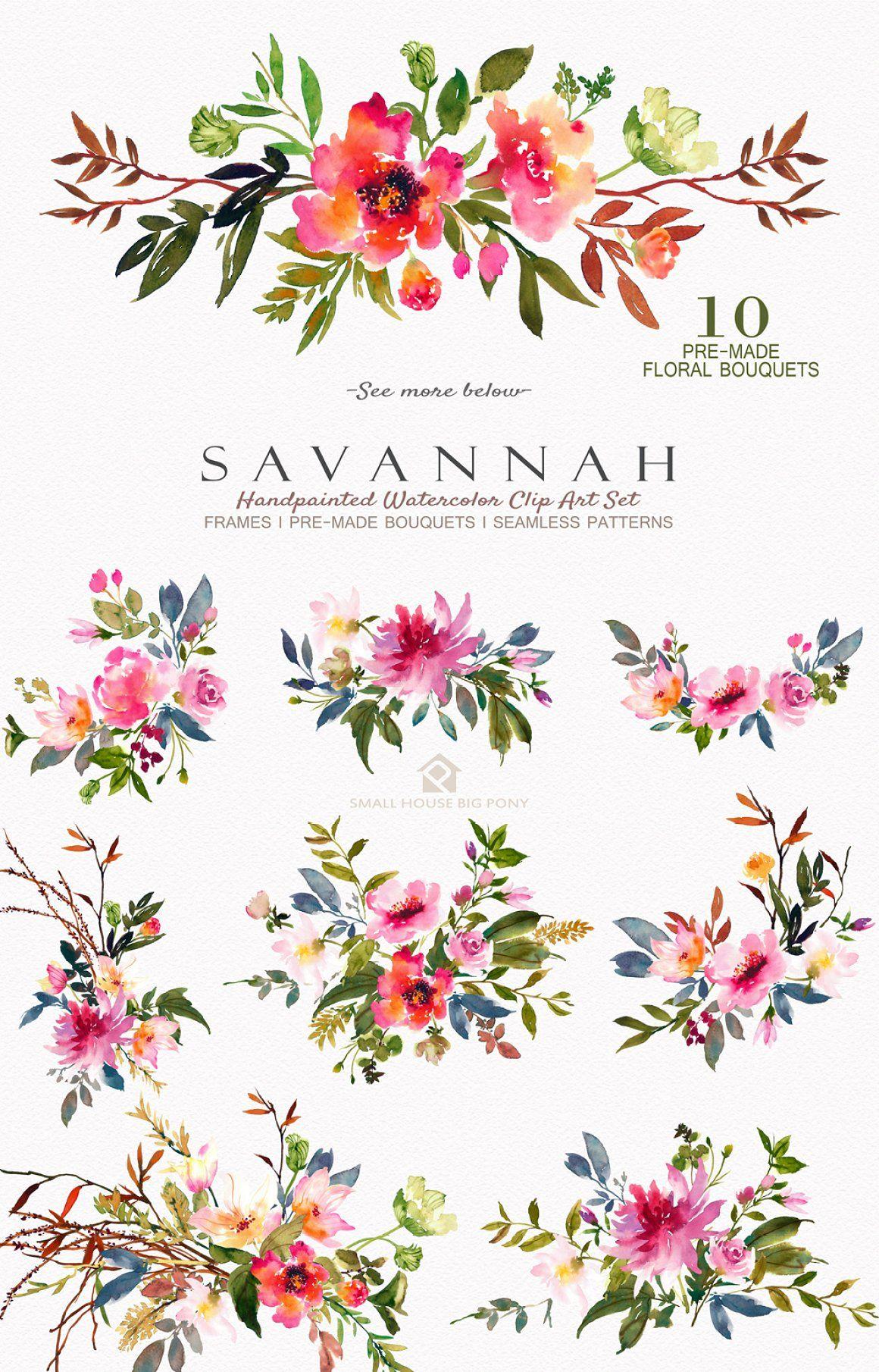 Savannah Watercolor Floral Set Floral Watercolor Floral Sets