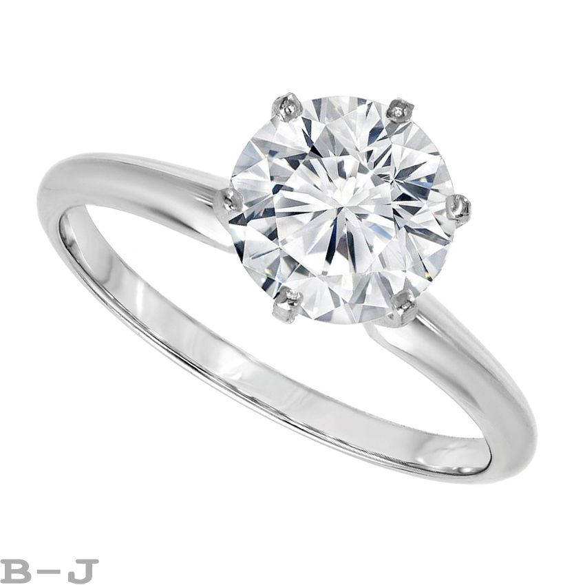 4 CT Round Brilliant Cur Solitaire Engagement Ring in Solid 14K Real White Gold #BrilliantJewelry #EngagementWeddingAnniversaryProposalPromise